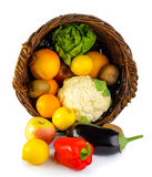 Basket full of fruits and vegetables Stock Image