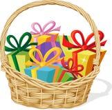 Basket full of gift  on white - vector Stock Images