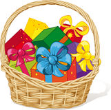 Basket full of gifts Royalty Free Stock Image