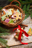Basket full of gingerbread cookies for Christmas Stock Image