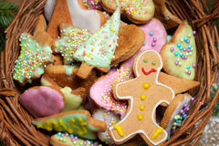 Basket full of gingerbread cookies Royalty Free Stock Photo