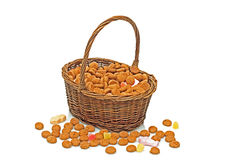 Basket full of gingernuts and sweets Royalty Free Stock Images
