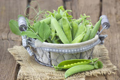 Basket full of green peas Stock Images