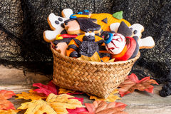 Basket full of halloween homemade cookies Stock Images