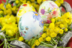 Basket full of handcolored Easter Eggs in decoupage closeup Royalty Free Stock Photography