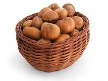 Basket full of hazelnuts Stock Photo