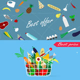 Basket full of healthy organic fresh and natural food. Royalty Free Stock Photography