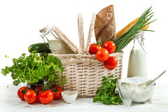 Basket full of healthy products Stock Photo