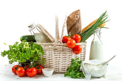 Basket full of healthy products Stock Images