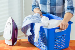 Basket full of laundry Stock Images