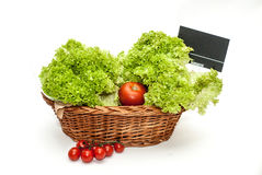 Basket full of lettuce and tomatoes Royalty Free Stock Photos