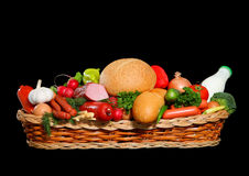 Basket full of meat and bread grocery Royalty Free Stock Image