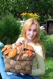 Basket, full mushrooms, and young woman-mushroom p Stock Photo