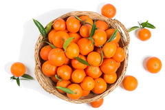 Basket Full Of Clementine Mandarin Oranges Stock Images