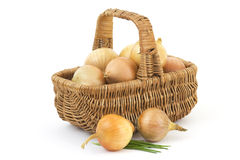 Basket full of onions Royalty Free Stock Image