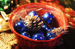 Basket full of ornaments Royalty Free Stock Photos