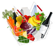Basket full with produce. Illustration, AI file included royalty free illustration