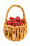 Basket full of raspberries. Isolated on white background Stock Image