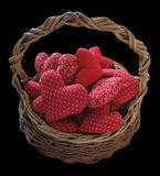 Basket full of red hearts Royalty Free Stock Photo