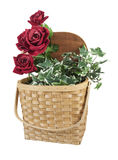 Basket Full of Red Roses Royalty Free Stock Image