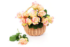 Basket full of roses Royalty Free Stock Photography