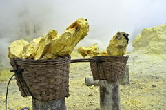 Basket full of sulfur nuggets Stock Photo