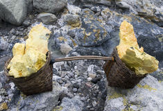 Basket full of sulfur nuggets atop royalty free stock image