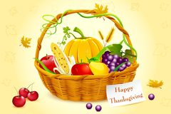 Basket Full of Thanksgiving Vegetable vector illustration