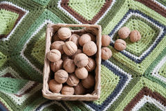 Basket full of walnuts Royalty Free Stock Image