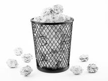 Basket Full of Waste Paper Isolated on White Background Royalty Free Stock Photo