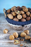 Basket full of whole walnuts in shells and some broken. Sunny on wooden table royalty free stock photography
