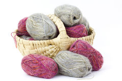 Basket full of wool Royalty Free Stock Image