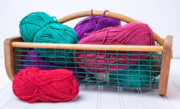 Basket full of yarn skeins Stock Image