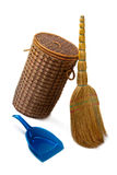 Basket  for garbage,  broom and a dustpan. Royalty Free Stock Photography