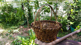 Basket in garden. Outdoor wallpaper park weave Royalty Free Stock Photography