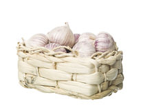 Basket of Garlic Stock Photography