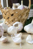 Basket of garlic Royalty Free Stock Photo