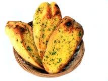 Basket of garlic bread. Isolated basket of garlic bread stock photos