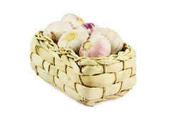 Basket of garlic cloves Stock Photography
