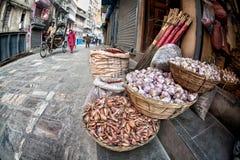 Basket with garlic in Kathmandu Stock Images