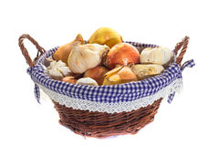 Basket of garlic and onion. On white background Stock Photography