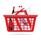 Basket with gift art vector. Basket for supermarket with gift vector illustration Royalty Free Stock Image