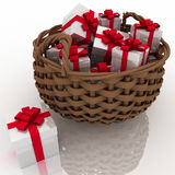 Basket with gift boxes Stock Images