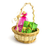 Basket with gifts. On the white isolated background Stock Image