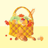 Basket Gifts of Autumn Stock Photo