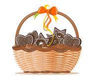 Basket with ginger cakes into white background Royalty Free Stock Photo