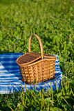 Basket on glade Royalty Free Stock Images