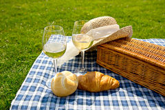 Basket with glass wine Stock Image