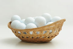 A basket of golf ball. Isolated on white Stock Photo