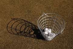 Basket of golf balls Royalty Free Stock Photos